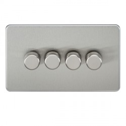 Knightsbridge Screwless Brushed Chrome 4 Gang 2 Way 40-400W LED Dimmer