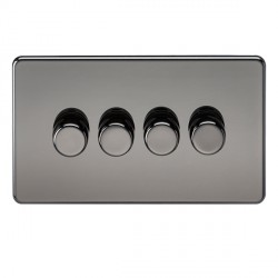 Knightsbridge Screwless Black Nickel 4 Gang 2 Way 40-400W LED Dimmer
