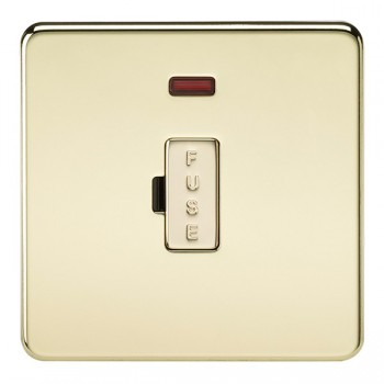 Knightsbridge Screwless Polished Brass 13A 1 Gang Fused Spur Unit with Neon