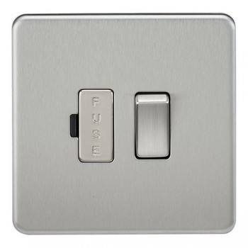 Knightsbridge Screwless Brushed Chrome 13A 1 Gang Switched Fused Spur Unit