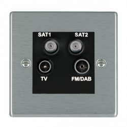 Hamilton Hartland Satin Steel TV+FM+SAT+SAT (DAB Compatible) with Black Insert