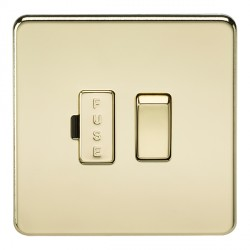 Knightsbridge Screwless Polished Brass 13A 1 Gang Switched Fused Spur Unit