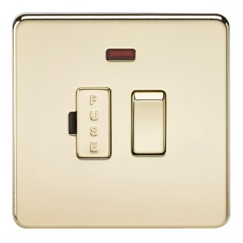 Knightsbridge Screwless Polished Brass 13A 1 Gang Switched Fused Spur Unit with Neon