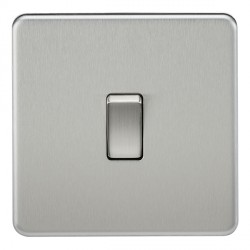 Knightsbridge Screwless Brushed Chrome 20A 1 Gang DP Switch