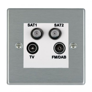 Hamilton Hartland Satin Steel TV+FM+SAT+SAT (DAB Compatible) with White Insert