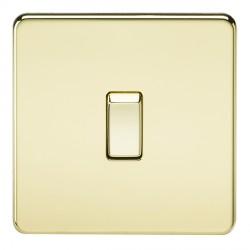 Knightsbridge Screwless Polished Brass 20A 1 Gang DP Switch