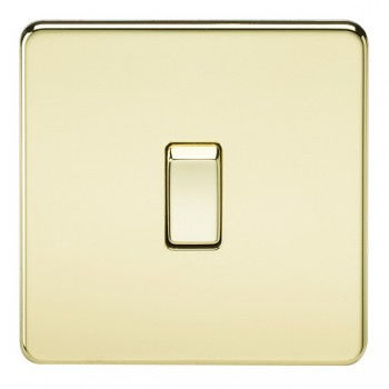 Knightsbridge Screwless Polished Brass 20A 1 Gang DP Switch
