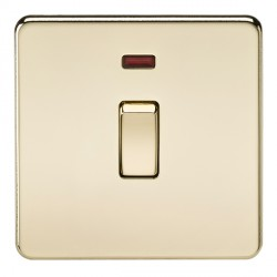 Knightsbridge Screwless Polished Brass 20A 1 Gang DP Switch with Neon