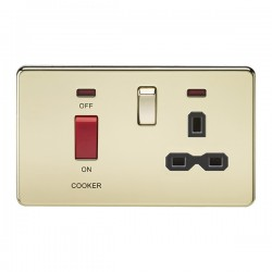 Knightsbridge Screwless Polished Brass DP Switch and 13A DP Switched Socket with Neon - Black Insert