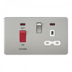Knightsbridge Screwless Brushed Chrome DP Switch and 13A DP Switched Socket with Neon - White Insert
