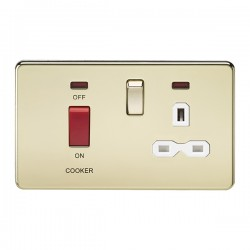 Knightsbridge Screwless Polished Brass DP Switch and 13A DP Switched Socket with Neon - White Insert