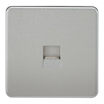 Knightsbridge Screwless Brushed Chrome Telephone Master Socket
