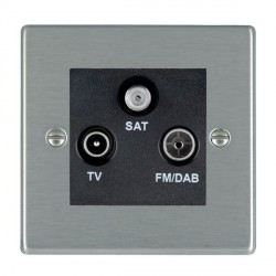 Hamilton Hartland Satin Steel TV+FM+SAT (DAB Compatible) with Black Insert