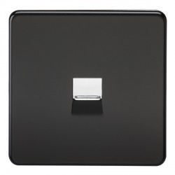 Knightsbridge Screwless Matt Black and Chrome Telephone Extension Socket