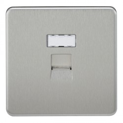 Knightsbridge Screwless Brushed Chrome RJ45 IDC Network Outlet