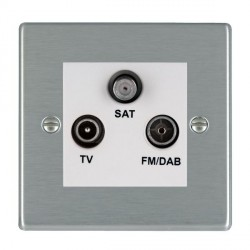 Hamilton Hartland Satin Steel TV+FM+SAT (DAB Compatible) with White Insert