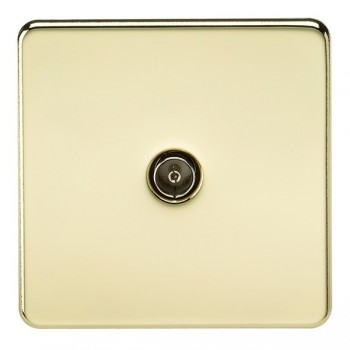 Knightsbridge Screwless Polished Brass 1 Gang Non-Isolated TV Coaxial Outlet