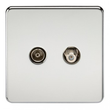 Knightsbridge Screwless Polished Chrome Isolated Sat/TV Outlet