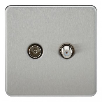 Knightsbridge Screwless Brushed Chrome Isolated Sat/TV Outlet