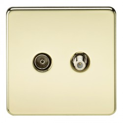Knightsbridge Screwless Polished Brass Isolated Sat/TV Outlet
