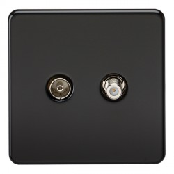 Knightsbridge Screwless Matt Black Isolated Sat/TV Outlet