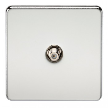 Knightsbridge Screwless Polished Chrome 1 Gang Non-Isolated Satellite Outlet