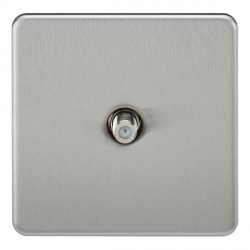 Knightsbridge Screwless Brushed Chrome 1 Gang Non-Isolated Satellite Outlet