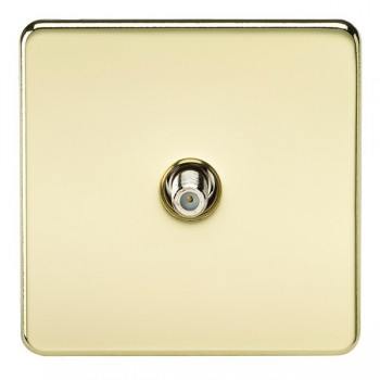 Knightsbridge Screwless Polished Brass 1 Gang Non-Isolated Satellite Outlet