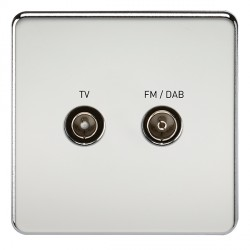 Knightsbridge Screwless Polished Chrome 1 Gang TV FM/DAB Screened Diplex Outlet
