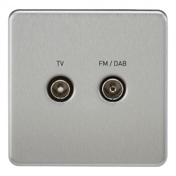 Knightsbridge Screwless Brushed Chrome 1 Gang TV FM/DAB Screened Diplex Outlet