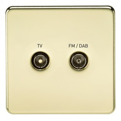 Knightsbridge Screwless Polished Brass 1 Gang TV FM/DAB Screened Diplex Outlet