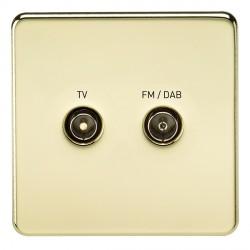 Knightsbridge Screwless Polished Brass 1 Gang TV FM/DAB Screened Diplex Outlet