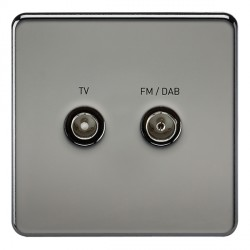 Knightsbridge Screwless Black Nickel 1 Gang TV FM/DAB Screened Diplex Outlet