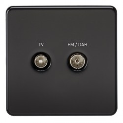 Knightsbridge Screwless Matt Black 1 Gang TV FM/DAB Screened Diplex Outlet