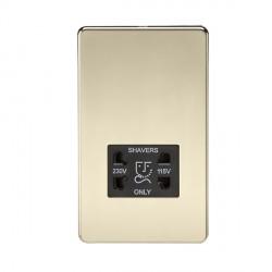 Knightsbridge Screwless Polished Brass Dual Voltage 115V/230V Shaver Socket - Black Insert