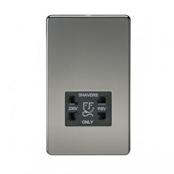 Knightsbridge Screwless Black Nickel Dual Voltage 115V/230V Shaver Socket - Black Insert