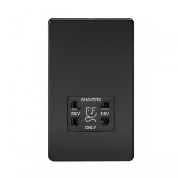Knightsbridge Screwless Matt Black Dual Voltage 115V/230V Shaver Socket - Black Insert