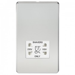 Knightsbridge Screwless Polished Chrome Dual Voltage 115V/230V Shaver Socket - White Insert