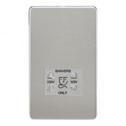 Knightsbridge Screwless SF8900BCW Brushed Chrome Dual Voltage 115V/230V Shaver Socket - White Inserts