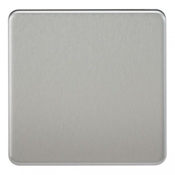 Knightsbridge Screwless Brushed Chrome 1 Gang Blank Plate
