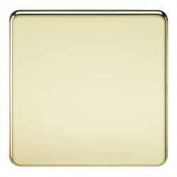 Knightsbridge Screwless Polished Brass 1 Gang Blank Plate