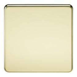 Knightsbridge Screwless Polished Brass 1 Gang Blank Plate