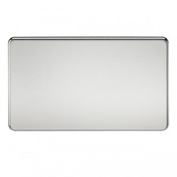 Knightsbridge Screwless Polished Chrome 2 Gang Blank Plate