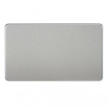 Knightsbridge Screwless Brushed Chrome 2 Gang Blank Plate