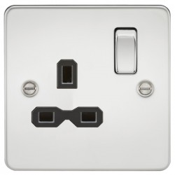 Knightsbridge Flat Plate Polished Chrome 13A 1 Gang DP Switched Socket - Black Insert