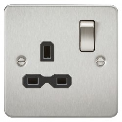 Knightsbridge Flat Plate Brushed Chrome 13A 1 Gang DP Switched Socket - Black Insert