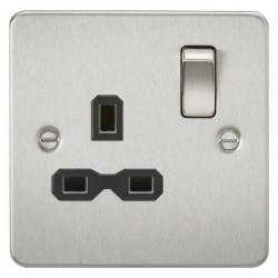 Knightsbridge Flat Plate Brushed Chrome 13A 1 Gang DP Switched Socket - Black Insert