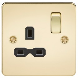 Knightsbridge Flat Plate Polished Brass 13A 1 Gang DP Switched Socket - Black Insert