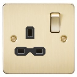 Knightsbridge Flat Plate Brushed Brass 13A 1 Gang DP Switched Socket - Black Insert