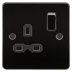 Knightsbridge Flat Plate Gunmetal 13A 1 Gang DP Switched Socket - Black Insert